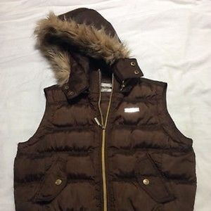 Women's South pole Puffer Fur Hooded Vest Size S